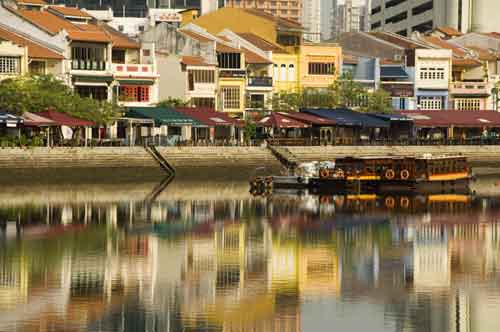 boat quay reflection-AsiaPhotoStock