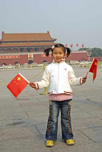 china girl with flags-AsiaPhotoStock