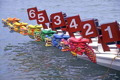 dragon boats line up-AsiaPhotoStock