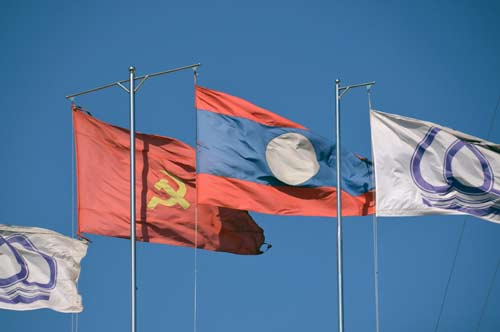flags laos-AsiaPhotoStock
