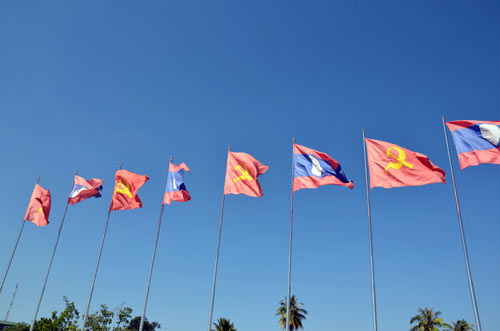 flag laos-AsiaPhotoStock