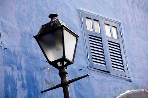 lamp with blue wall-AsiaPhotoStock