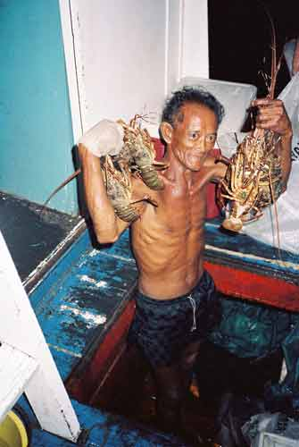 boatman with lobsters-AsiaPhotoStock