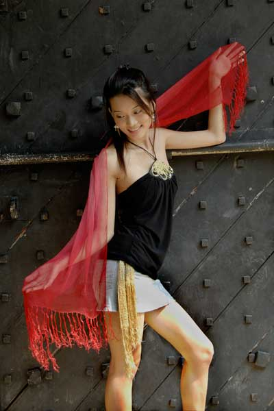 model with scarf-AsiaPhotoStock