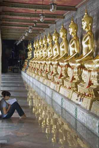 reading in the temple-AsiaPhotoStock