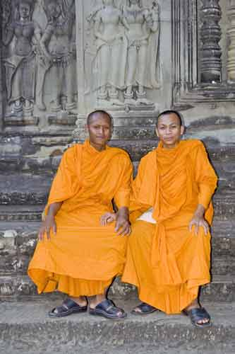 two monks at angkor-AsiaPhotoStock